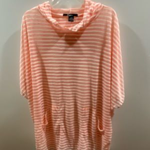 Cejon Women's Beach Cover Peach & White striped